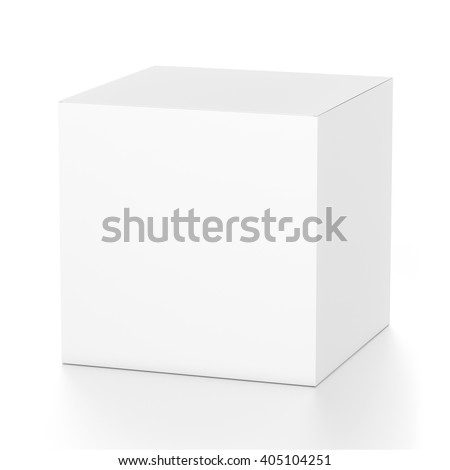 White cube blank box from top front far side angle. 3D illustration isolated on white background. - stock photo