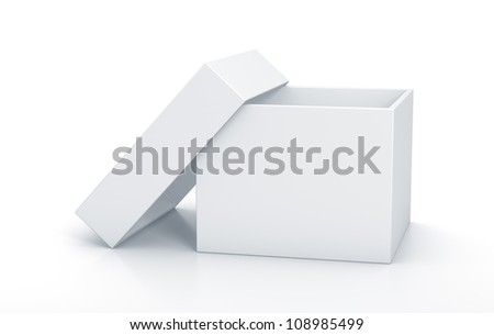 White cube box with top cover. High resolution 3D illustration with clipping paths. - stock photo