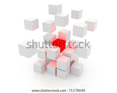 White cube 3D. Isolated. Kernel - stock photo