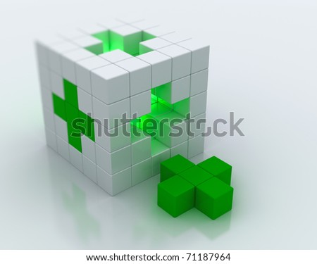 White cube green cross symbol - stock photo