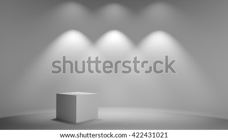 White cube in gray studio. Light from lamp on wall. Background for exhibition of products, web design or business template. 3D illustration - stock photo