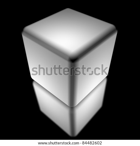 white cube isolated over blck - stock photo