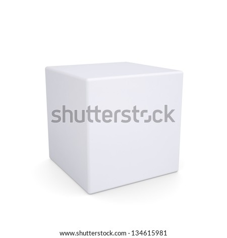 White cube with rounded edges. Isolated render on a white background - stock photo