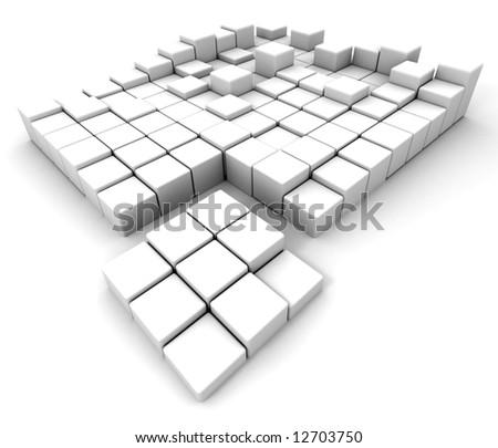 White cubes in different heights arranged on a white background