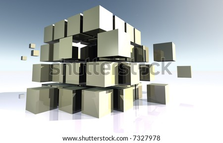 White Cubes in Movement - stock photo