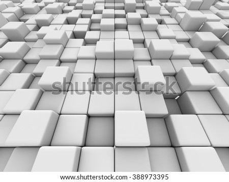 White cubes wall 3d background. 3d render illustration