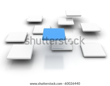 white cubes with a single blue - stock photo