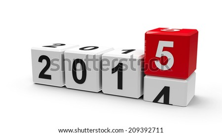 White cubes with 2014-2015 change on a white table represents the new 2015, three-dimensional rendering - stock photo