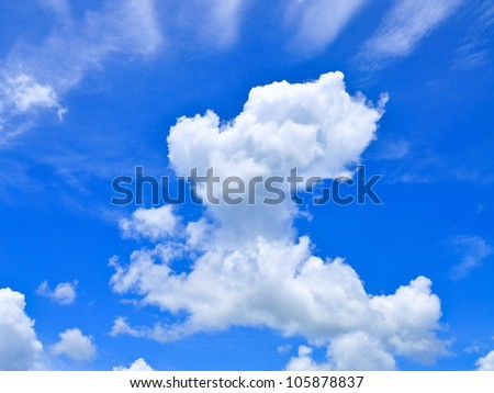 White cumulus clouds and a blue sky