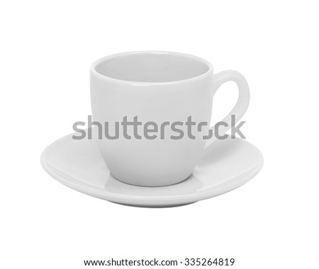 White cup and saucer isolated on white background - stock photo