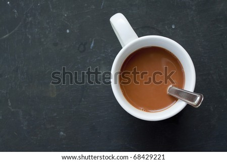 White Cup coffee on black Table - stock photo