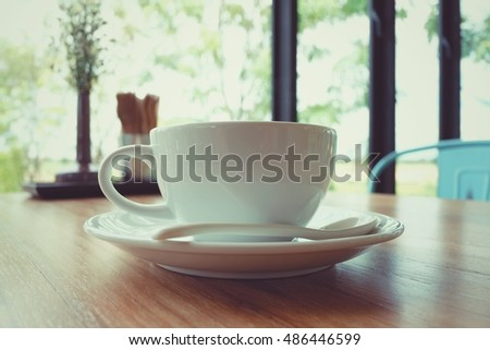 White Cup coffee, pastel tone