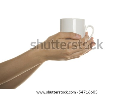 White cup in his hands. Isolated on white background - stock photo