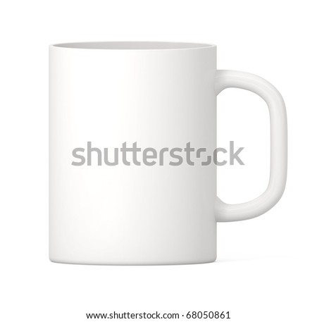 White Cup isolated - 3d illustration - stock photo
