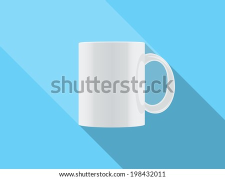 white  cup isolated on blue background - stock photo