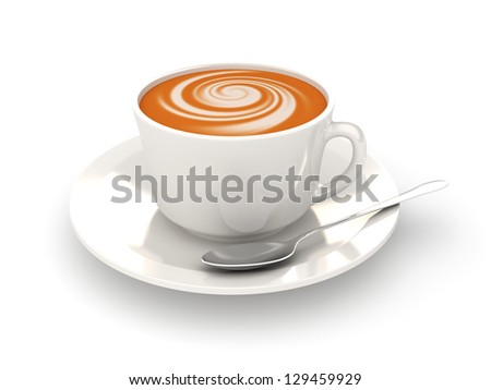 White cup of cappucino on a white background. 3d rendered image - stock photo