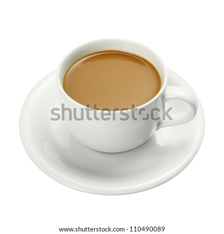 White cup of coffee isolated on a white background + Clipping Path - stock photo