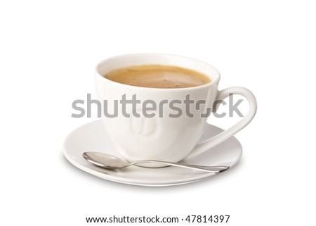 White cup of coffee isolated on white. It has a clipping path. - stock photo