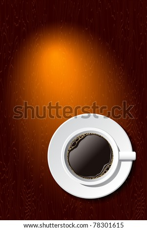 white cup of coffee on the desk with copy space - stock photo