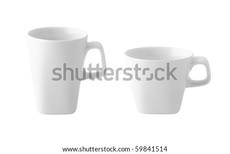 White cup of coffee or milk isolated - stock photo