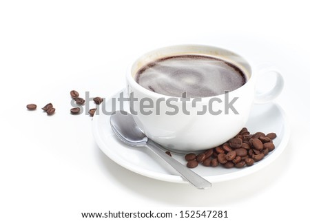 White Cup of Coffee with beans on a white isolated background. - stock photo