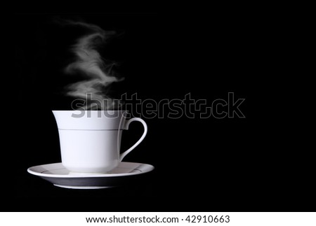 White cup of coffee with smoke over black background - stock photo