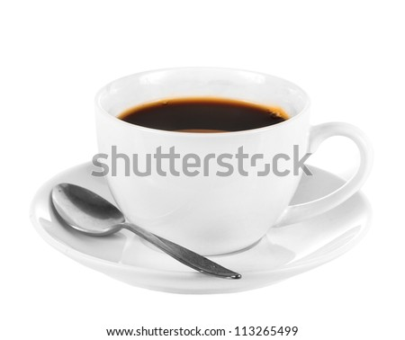 White cup of dark coffee  isolated on white background