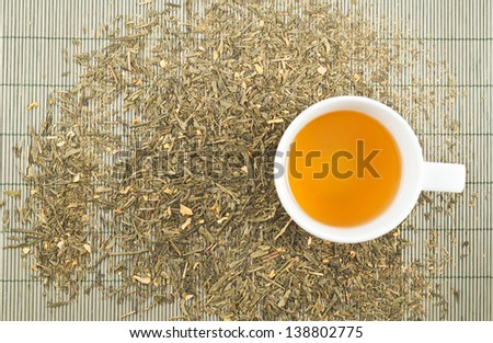 White cup of green tea over tea leaves scattered over bamboo mat as a background