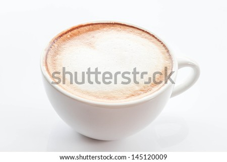 White cup of hot coffee latte isolated on white background