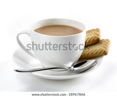 White cup of tea with biscuits - stock photo