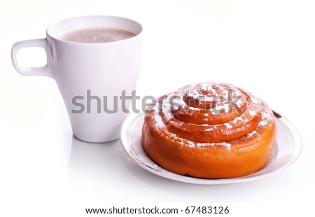 White cup office coffee with milk and a fresh sweet roll with cinnamon on a white saucer with a gold border isolated on a white background - stock photo