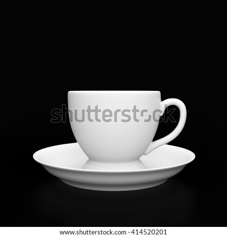 White cup on the black background. 3D rendering - stock photo