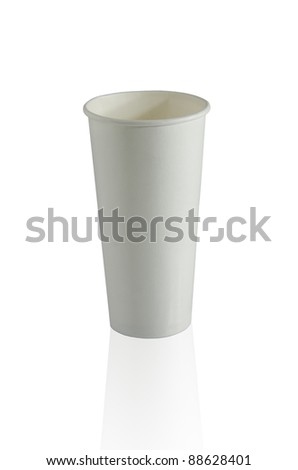 White cup on white background. - stock photo