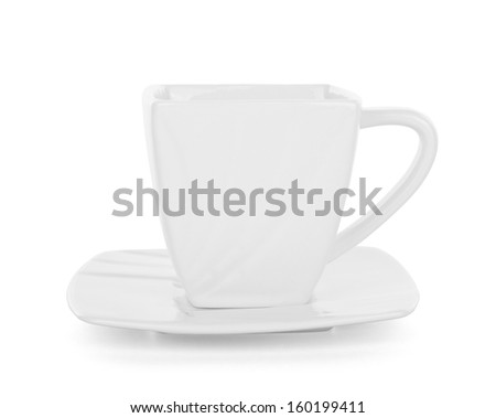 white cup over white background - stock photo