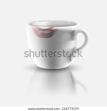 white cup with lipstick print - stock photo