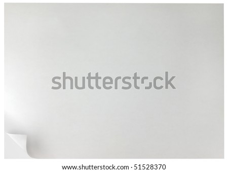 White Curled Edge Page Curl Background, isolated - stock photo