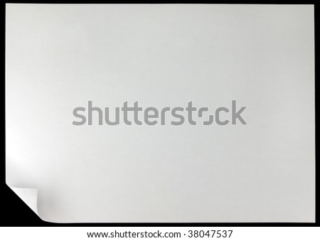 White Curled Edge Page Curl on black - stock photo