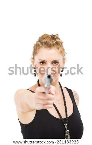 White Curly Blonde Female in Black Dress holding a gun / Pistol / Handgun Portrait  - stock photo