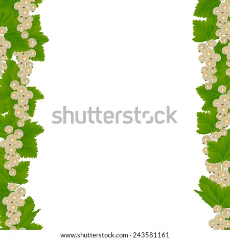 White currants border with leaves isolated on white background