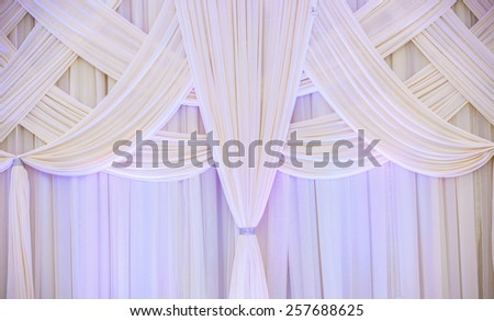 White curtain in the wedding hall - stock photo