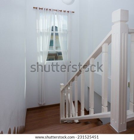 white curtain window in the modern house - stock photo