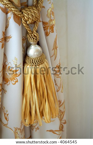 White curtain with an ornament in the modern house - stock photo