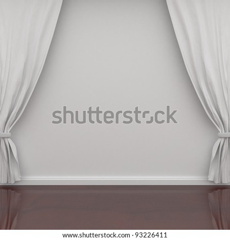 white curtains on the wall - stock photo