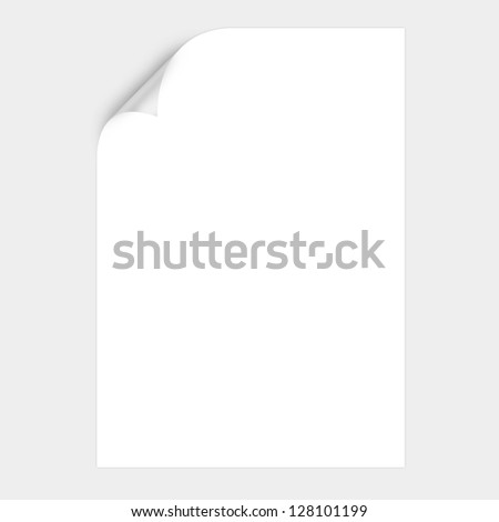 White Curved Corner paper - stock photo
