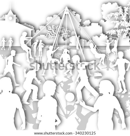 White cutout illustration of children playing in a school playground - stock photo