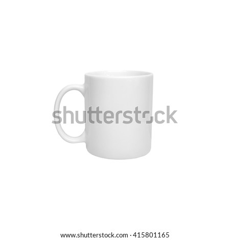 White cylindrical cup for hot beverages isolated on white - stock photo