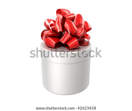 white cylindrical gift with the red ribbon isolated on white background