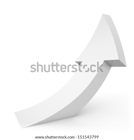 white 3d arrow directed from the floor - stock photo