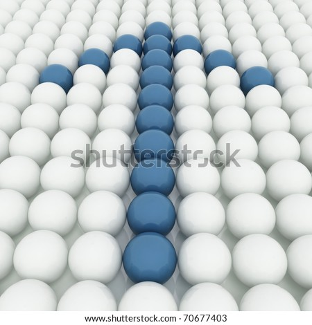 White 3D balls with blue ones forming an arrow - stock photo
