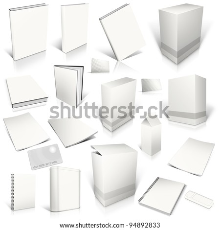 White 3d blank cover collection, isolated on white - stock photo